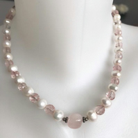 Beaded necklace,Pearl necklace, Rose quartz necklace, Faceted glass bead