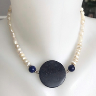 Lapis necklace, Pearl necklace, Coin Lapis necklace, Statement necklace,