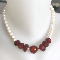 Pearl necklace, Freshwater pearl necklace, Carnelian necklace,Statement necklace