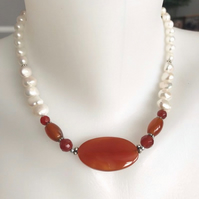 Pearl necklace, Beaded necklace, Carnelian necklace,Statement necklace