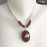 Pendant necklace,Carnelian pendant, Statement necklace,Pearl necklace