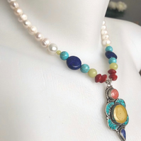 Tibetan necklace, Statement necklace, Pendant necklace, Semi precious necklace,
