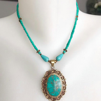 Beaded necklace, Tibetan necklace, Turquoise necklace, Pendant necklace, Ceramic