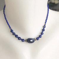 Lapis necklace,Gemstone necklace, Beaded necklace, Blue necklace