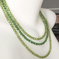 Beaded necklace, layered necklace, Faceted beads necklace, Sparkly necklace