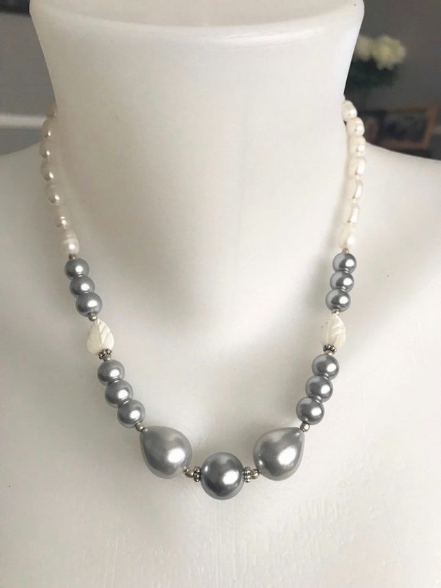 Shell pearl necklace,Pearl necklace, statement necklace,Grey pearl necklace