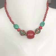 Beaded necklace, Tibetan necklace, Vintage beads necklace,Red necklace