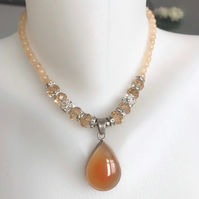 Pendant necklace,  Carnelian necklace, Sterling silver pendant, Beaded necklace