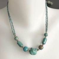 Turquoise Necklace , Beaded necklace,  Double line necklace