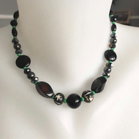 Beaded necklace, Onyx  necklace, Hematite necklace