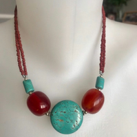 Coin turquoise necklace, Turquoise necklace, Statement necklace, Gemstone