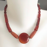 Carnelian necklace,Beaded necklace, Statement necklace, Gemstone necklace
