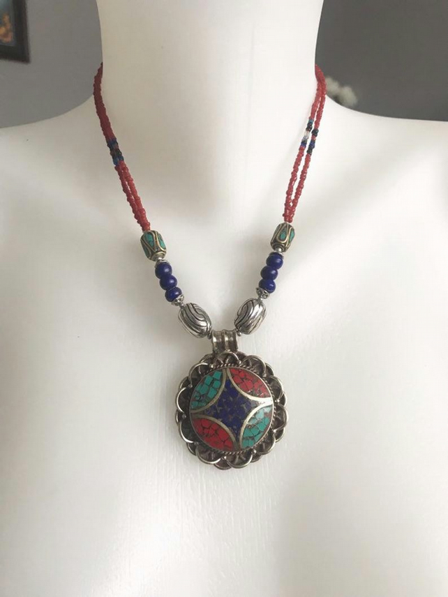 Pendant necklace, Tibetan necklace, Beaded necklace, Ethnic necklace