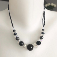 Beaded necklace, Onyx necklace, Hematite necklace, double line necklace