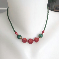 Beaded necklace, Tibetan necklace, Choker necklace, Vintage beads necklace