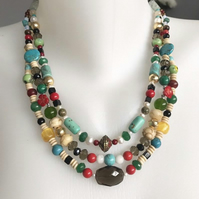 Layered necklace, Mix beads necklace,Vintage beads necklace