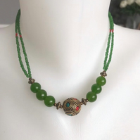 Beaded necklace, Green necklace, Double line necklace, Ceramic necklace