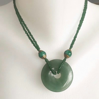Jade necklace,Green necklace, Gemstone necklace, Jade doughnut, Doughnut pendant