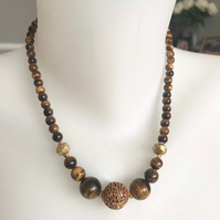 Tiger's eye necklace, Gemstone necklace,  Beaded necklace, Vintage necklace