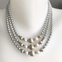 Statement pearl necklace,   Shell pearl necklace, Layered pearl necklace,