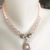Rose quartz necklace, Gemstone necklace, Rose quartz pendant necklace
