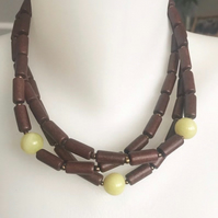 Wooden beads necklace, Multistrand necklace, Beaded necklace, Statement necklace