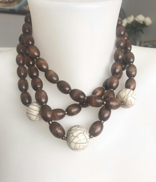 Wooden beads necklace, layered necklace, Beaded necklace, Statement necklace