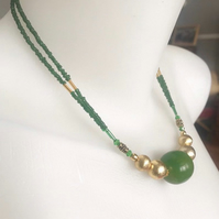 Beaded necklace, Green necklace, Gold filled  necklace, Double line necklace