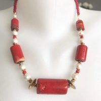 Statement necklace, vintage coral necklace ,Tibetan necklace, chunky necklace