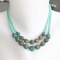 Turquoise Necklace,Tibetan necklace, Beaded necklace, Gift for mum, gift for her