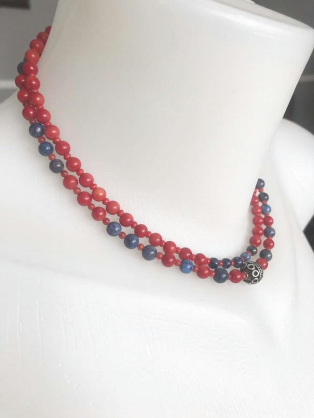 Choker necklace, Beaded necklace, coral necklace, lapis necklace