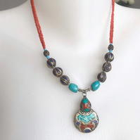Pendant necklace, Tibetan necklace, Beaded necklace, ethnic necklace,