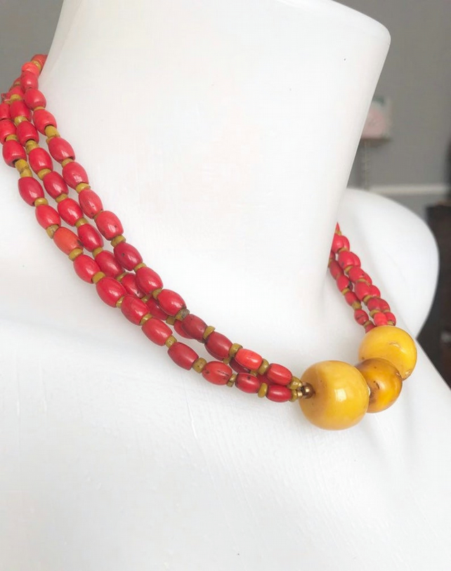 vintage beads necklace, Beaded necklace, Chunky Beads, Statement necklace