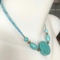 Coin turquoise Necklace, Beaded necklace,Double line necklace, gift for her