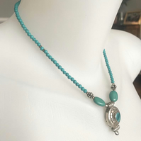 Turquoise Necklace,Tibetan turquoise necklace,Ethnic jewellery, Pendant necklace