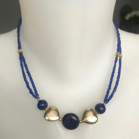 Lapis necklace, Double line necklace, Coin Lapis necklace, Beaded necklace,