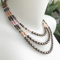 Layered pearl necklace, Multistrand necklace, Pearl necklace, Statement necklace