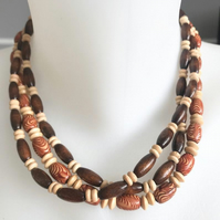 Stretch necklace,Wooden beads necklace, Beaded necklace