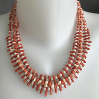 Vintage coral necklace, Beaded coral necklace, Layered coral necklace,