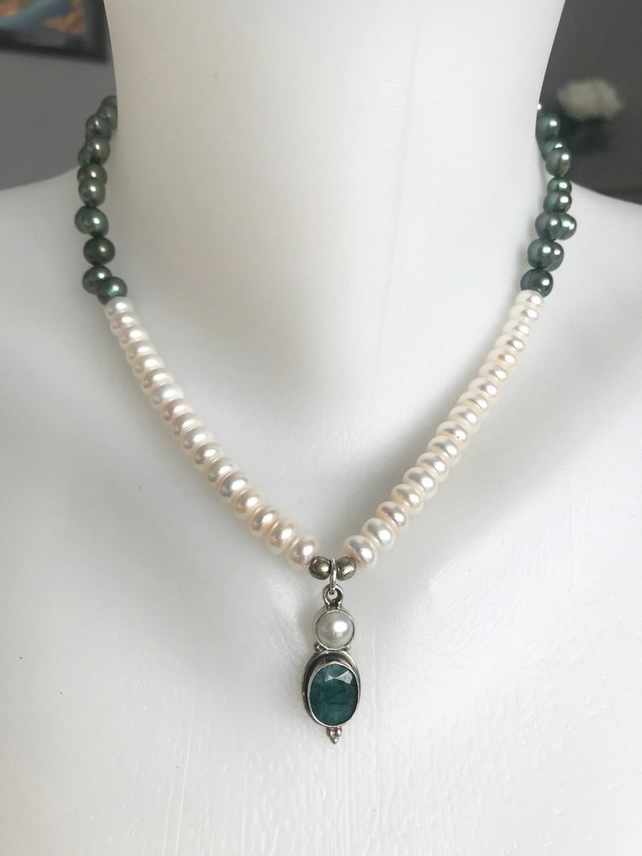 Emerald pendant necklace, Sterling silver pendant necklace, Pearl necklace,
