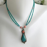 Pendant necklace , Tibetan necklace, Turquoise Necklace, Beaded necklace