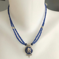 OM Pendant necklace,  Beaded necklace,  Lapis Necklace earrings, Sterling silver