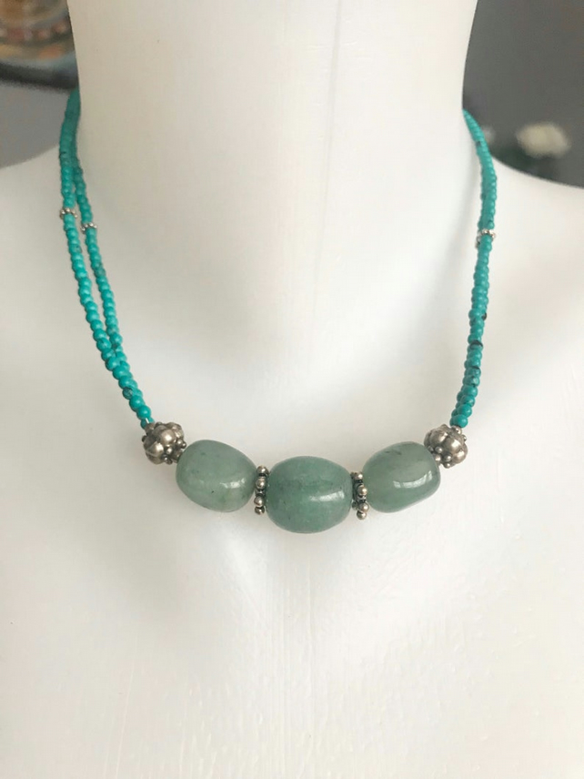 Turquoise Necklace, Beaded necklace, Aventurine necklace earring, Green necklace