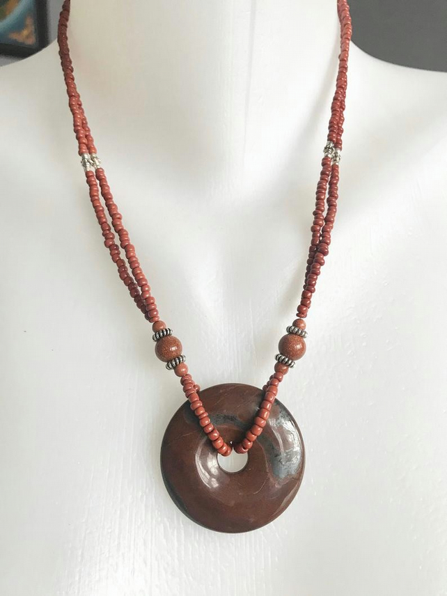 Jasper doughnut necklace, Jasper necklace, Double line necklace