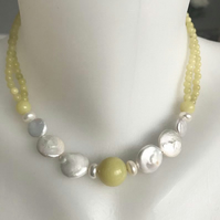 Coin pearl necklace, Soft colour necklace, Jade pearl necklace earrings, Pearl