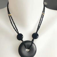 Black Agate doughnut necklace, Double line necklace, Doughnut pendant necklace
