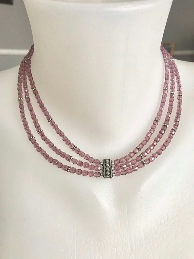 Layered necklace, Multistrand necklace, Faceted glass beads necklace
