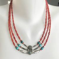 Layered necklace, Multistrand necklace, Coral necklace, Ethnic jewellery