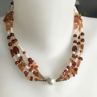 Carnelian necklace, Multi strand necklace, Statement necklace, Gemstone necklace