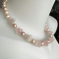 Rose quartz necklace, Gemstone necklace, Pearl necklace, Statement necklace